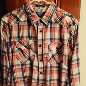 Carbon Men's plaid long sleeve shirt